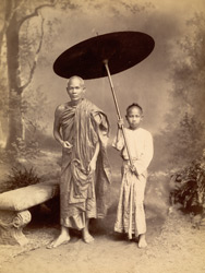 [Burmese monk and attendant.]